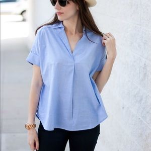 Madewell Button Back Courier Shirt in Oxford Blue